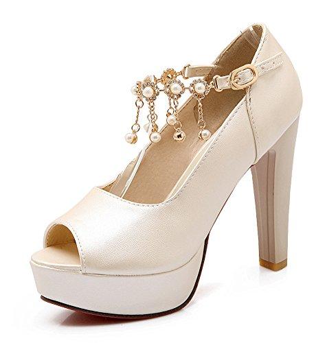 Femme Chic Aisun Bloc Haut Beige Sandales Perles Talon Ta1w81qd