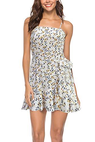 Fitted Polka Dot Slip - Meiyitong Clothing Womens Summer Petite Mini Short Dresses Slip A Line Ruffle Knot Front Dresses (1094,White,M)