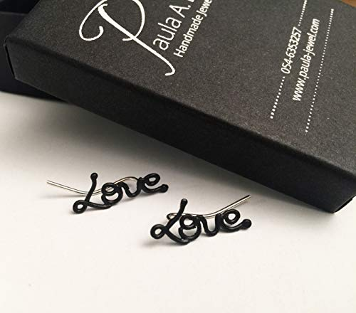 (Love Ear Cuff Earrings, Black Plated Brass with Sterling Silver stud Ear Climbers, Unique Stud Post Sweep earrings, Valentine's Day Gift, Handmade Designer Jewelry)