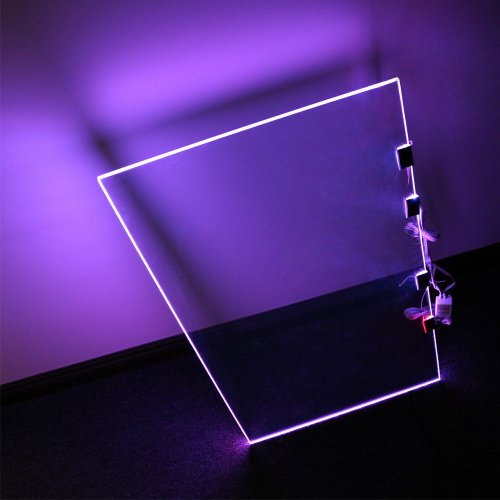 glass shelf lighting. RGB LED Glass Edge Lighting Shelf