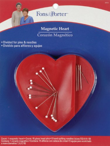 (Fons & Porter 7711 Magnetic Heart Caddy with 10 Glasshead Pins & 5 Quilting Needles)
