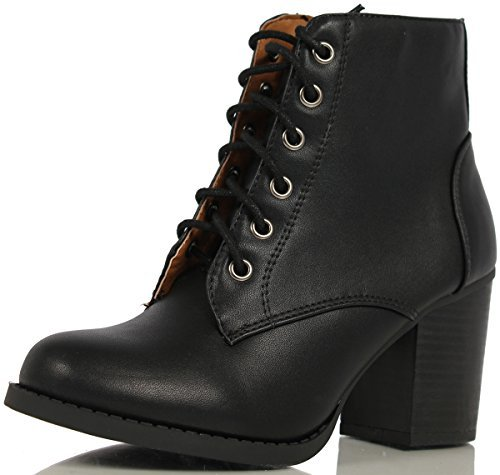 Lace Boots Military (SODA Women's Korman Faux Leather Lace Up High Chunky Heel Ankle Booties, Black, 11 M US)