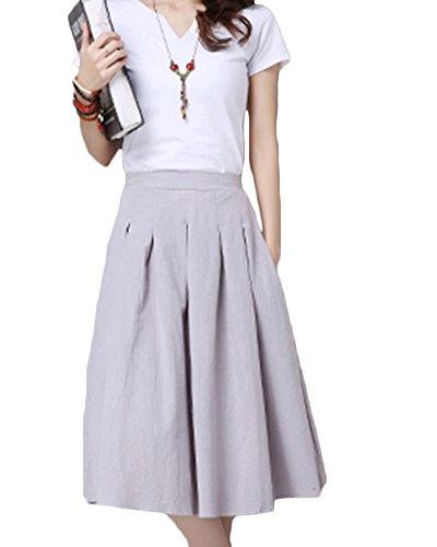 ZongSenA Femmes D'  Rtro Lin Coton Pure Couleur Midi Jupe avec Ceinture lastique Mori Girl Grande Hem Jupe Gris Clair