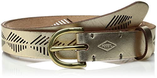 Fossil Women's Diamond Stripe Perf Belt, Champagne L