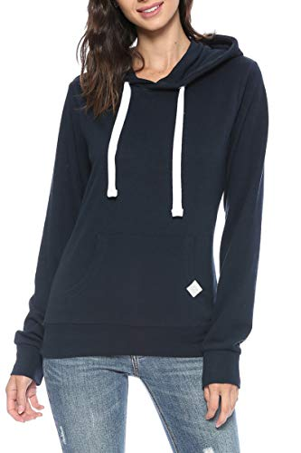 Urban Look Womens Basic Lightweight Stretch French Terry Pullover Hoodie (B Navy, Large)
