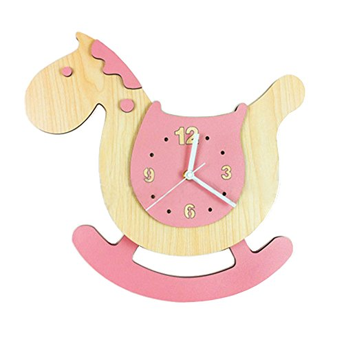 Jinberry (38 cm) Silent Sweep Cute Wooden Rocking Horse Wall Clock with Swinging Pendulum / Non Ticking Digital Premium Healthy E1 Grade MDF Quartz Clock - (Wind Up Key For Halloween Costume)