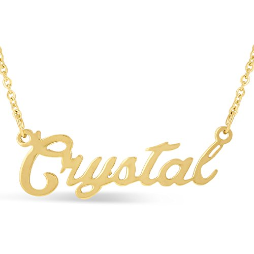 Crystal Nameplate Necklace In Gold Tone (Gold Tone Crystal Necklace)
