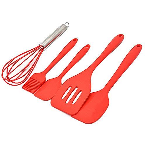 Silicone Spatulas Set Kitchen Utensils Set 446°F Heat-Resistant Rubber Baking Spatulas/Turner/Brush/Whisk Non-stick Seamless Silicone (5-Piece Red)