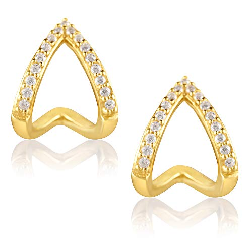 18K Yellow Gold Plated Sterling Silver and Cubic Zirconia Chevron Triangle Wrap Stud Earrings for Women