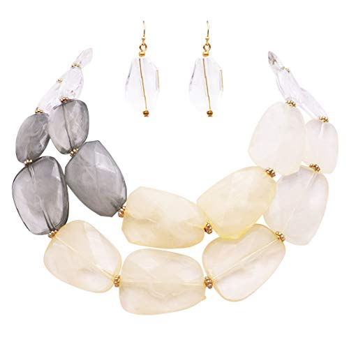 Rosemarie Collections Women's Ombre Polished Resin Statement Necklace Earring Set (Ivory/Gray)