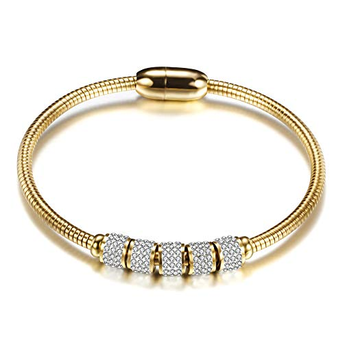 GVUSMIL Fashion Stainless Steel Snake Chain Crystal Charm Bracelet CZ Mirco Pave Cubic Zirconia Ball with Magnet Clasp Cuff Bangle Hola Bracelet for Women Jewelry (Gold)