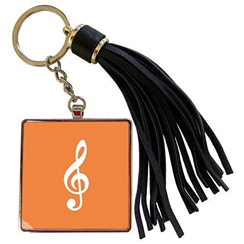 3dRose InspirationzStore Music Art Designs - Orange Treble Clef Music Notation - G clef musical note musician gift - Tassel Key Chain (tkc_232112_1) (Oasis A Great Big World Piano Sheet Music)