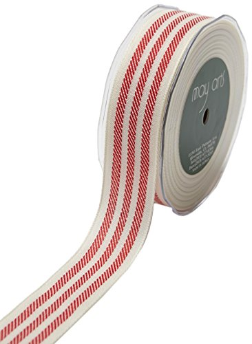 May Arts Ribbon 1.25 Inch Woven Stripes Ribbon, 25 yd, Ivory/Red ()