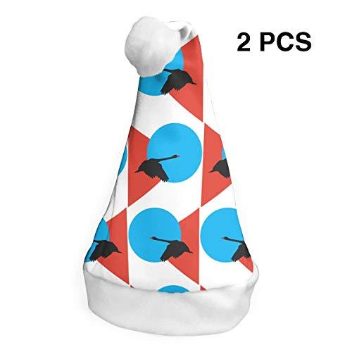 SVVOOD Christmas Hat Holiday Black Swan Velvet Santa Caps, Pack of 2 -