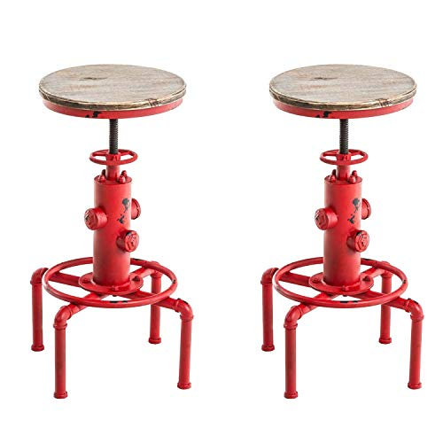 (Topower American Antique Vintage Industrial Barstool Solid Wood Water Pipe Fire Hydrant Design Cafe Coffee Industrial Bar Stool Set of 2 (Antique Red, 2))