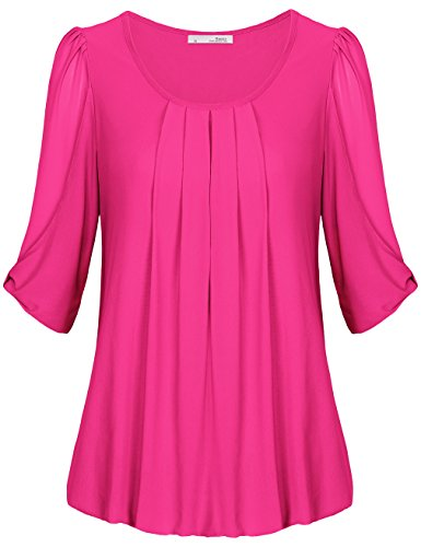 Messic Womens Round Pleated Sleeve