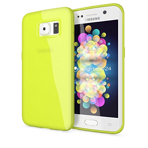 delightable24 Premium Protective Case TPU Silicone Jelly SAMSUNG GALAXY S6 EDGE PLUS Smartphone - Neon Green Yellow (Samsung Galaxy Exhibit Case Bling)