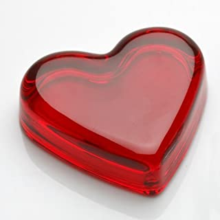 product image for Deep Ruby Red Glass Heart Accent Paper Weight Handmade in Ohio by Mosser