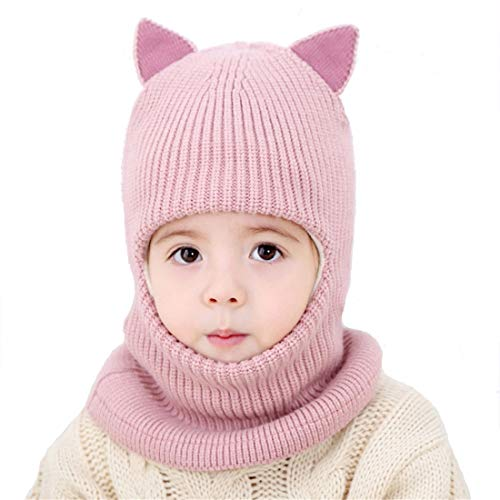 Kids Winter Hat, Baby Knit Hat, Baby Girls Boys Winter Hat, Thick Scarf Earflap Hood Scarves Skull Caps, 1-5 Years Kids (Pink)