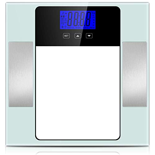 Digital Bathroom Scale, Accurate Body Weight Scale Smart BMI Body Fat Scale Monitor with 10 Users Memory Mode, LCD Large Display, 6mm Tempered Non-Slip Glass, 400 Pounds