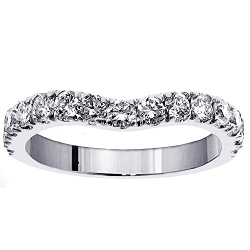 0.90 CT TW Large Diamond Wedding Band in 14k White Gold - Size 5.5