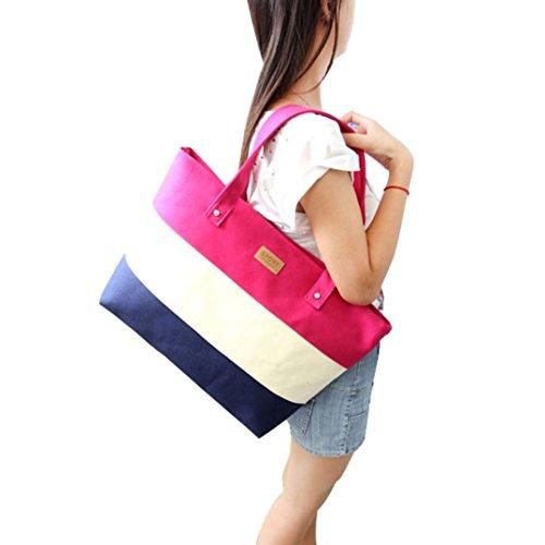 Women Canvas Handbags Shoulder Messenger Bags Hot Pink - 4