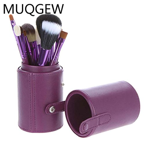 Cosmetic Cup Holder Travel,Makeup Brushes Cylinder Holder Cosmetic Brush Container Leather Hold 12 pcs (Purple)