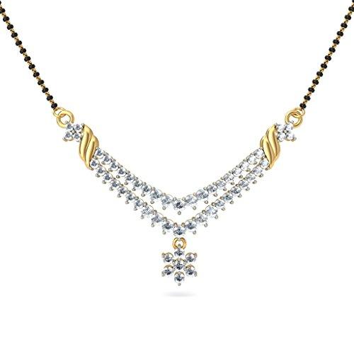 Or jaune 18K 1.11carat au total White-diamond (IJ   SI) Mangalsutra