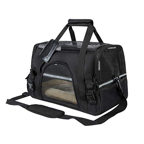 FANCYDOG Airline Approved Pet Carrier Soft Side Portable Pet Travel Bag Mesh Windows Fleece Padding Under Seat Pet Bags Small Dogs and Cats(Black)