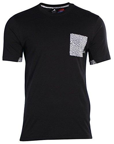 Air Jordan Men Fly Elephant Print Pocket T-Shirt (Small, Black)