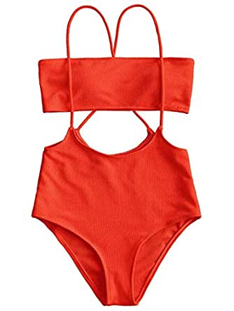 Bandeau Top And High Waisted Slip Bikini Bottoms - Red L