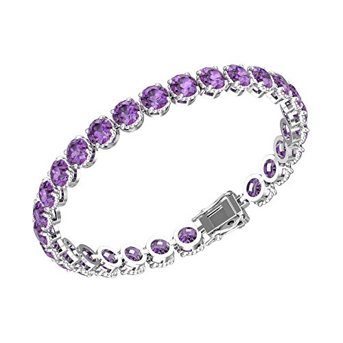 Belinda Jewelz Womens 925 Real Solid Sterling Silver Rhodium Plated Classic Sparkling Tennis Circle Solitaire Round Gemstone Prong Setting Gift Jewelry Bracelet, 7 inch 10 Carat, Amethyst Purple