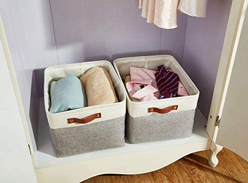 413jhqRmn7L. AC - DECOMOMO Foldable Storage Bin | Collapsible Sturdy Cationic Fabric Storage Basket Cube W/Handles For Organizing Shelf Nursery Home Closet (Grey And White, Extra Large - 15.8 X 12.5 X 10-3 Pack)