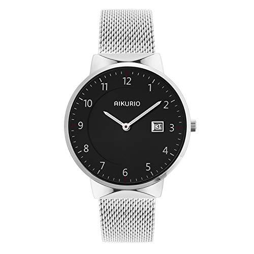 (AIKURIO Unisex Wrist Watches Analog Quartz Waterproof with Stainless Steel Strap and Calendar)