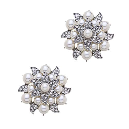 Casualfashion 2Pcs Fashion Rhinestones Pearls Flowers Crystals Wedding Party Shoe Clips (Silver)