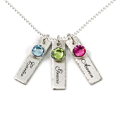 AJ's Collection Unity in Three Personalized Charm Necklace. Customize 3 Sterling Silver Rectangular Pendants with Names of Your Choice. Gifts for Her - Rectangular Womens Necklace