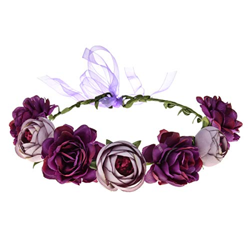 June Bloomy Women Rose Floral Crown Hair Wreath Leave Flower Headband with Adjustable Ribbon -
