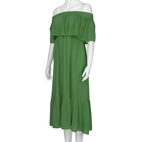 ... Solike Sommerkleid Damen Off Shoulder Schulterfrei Einfarbig Party  Kleider Frauen Mädchen Sommer Lässig Casual Hemdkleid Strandkleid ... b336477f1c