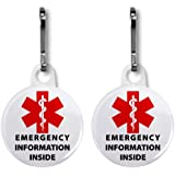 MEDICAL INFORMATION INSIDE Red Alert Symbol 2-Pack 1 inch White Zipper Pull Charms