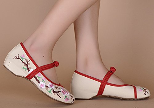 Main Chaussures Mary Ballerine Icegrey Beige 36 Broderie Plat Fleur Prune Janes Femme De Fait IqwPq