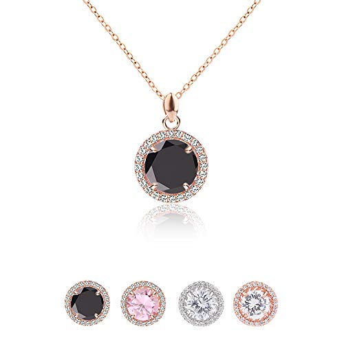 Jardme Rose Gold Adjustable CZ Chain Round Pendant Necklace with A Gift Bag (Black)