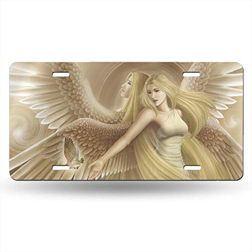 Earth Yellow Sister Angel Bird Girls Themed Printed License Plates for Front of Car Tags Accessories Decorations Women Men Girls Ornament Items Merchandise Supplies Gifts