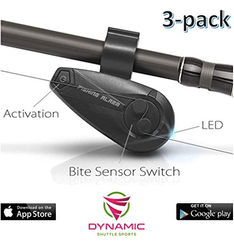 Dynamic Shuttle Sports Smart Bluetooth Fishing Rod, Fishing Pole FishBite Alarm with Electronic Fishing Bite Alarm Indicator for Mobile Phones (3-Pieces)