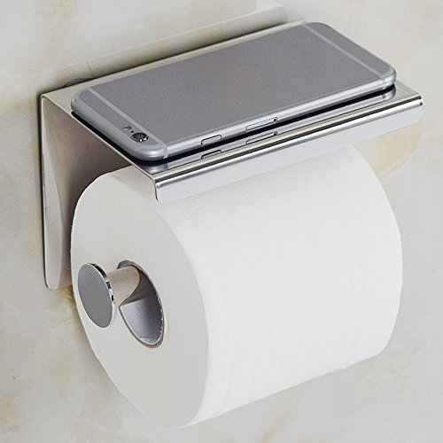 Toilet Paper Phone Holder,   - Wall Mount Bathroom Tissue Holders With Cellphone Storage Shelf 1.21 Lb - Brushed Aluminum - 304 Stainless Steel Roll Paper Rack - Key, Ashtray, Watch, Glasses, Hardware ()