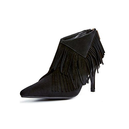wdjjjnnnv Pointed Fine with Bare Woman's Boots Scrub Tassel Genuine Leather Female boots 37