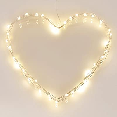[Timer] 40 LED Outdoor Battery Fairy Lights on 5M Silver Copper String Cable - (8 Modes, 120 Hours of Lighting, IP65 Waterproof, Warm White)