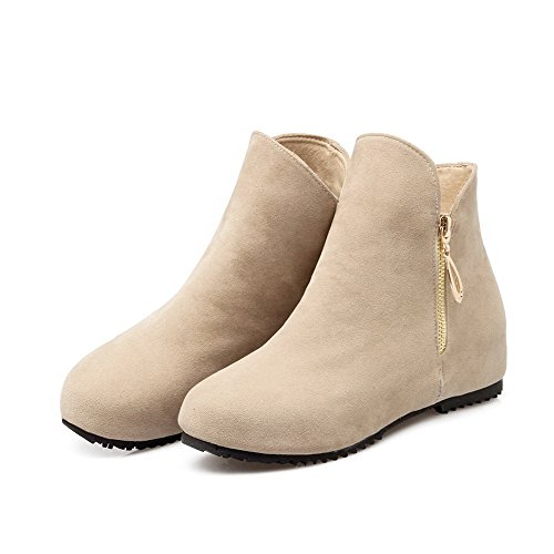 AgooLar Women's Round Closed Toe Low-Top Low-Heels Solid Imitated Suede Boots Beige kV8ZRlTU