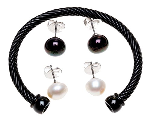 Honora Interchangeable Cultured Pearl Earring and Bracelet Set Jet Size Average