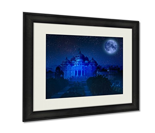 Ashley Framed Prints, Indidelhi Temple Akshardham By Light Full Moon Elements This Wall Art Decor Giclee Photo Print In Black Wood Frame, Soft White Matte, Ready to hang, 16x20 Art