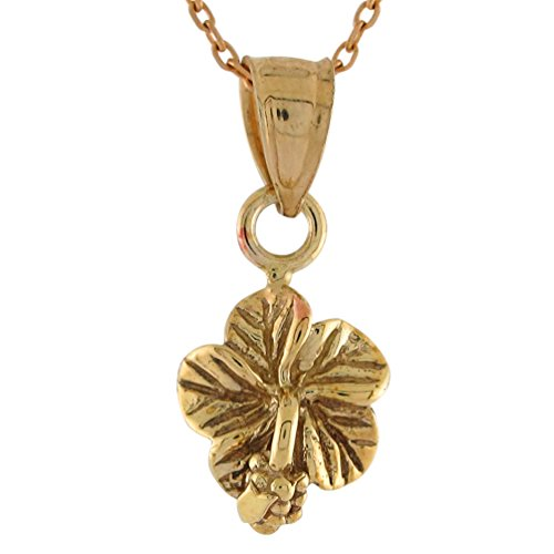 10k Yellow Gold Ladies Magnificent Habiscus Flower Floral Charm (Habiscus Flower)